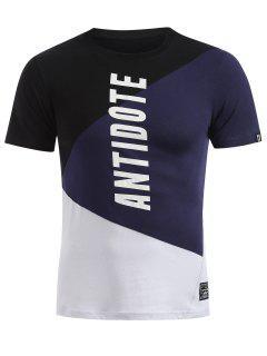 Short Sleeves Colorblock Tee - Dark Slate Blue Xl