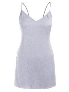 Open Back Sleep Short Cami Dress - Jet Gray L
