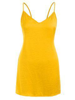 Open Back Sleep Short Cami Dress - Bee Yellow M