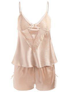 Lacy Panel Sleepwear Camisole Set - Champagne Champagne 2xl 2xl