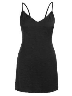 Open Back Sleep Short Cami Dress - Black M