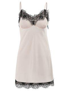 Lingerie Lace Hem Satin Chemise - Light Pink L