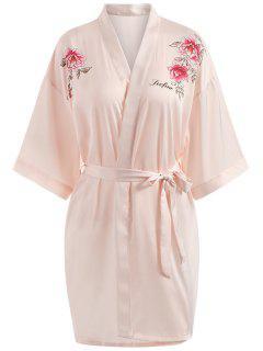 Floral Print Pajama Wrap Robe - Light Pink L