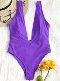 High Cut Plunge Neck Swimsuit - Purple S