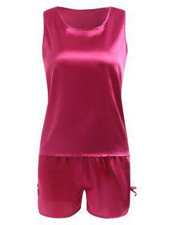 Comfy Satin Sleepwear Set - Rose Red M