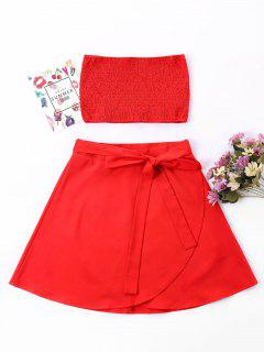 Shirred Bandeau Skirt Two Piece Set - Red Xl