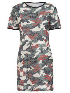 Camo Mesh Mini Tee Dress - Camouflage Green Xl