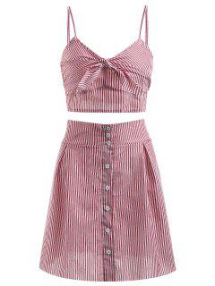 Bralette Stripes Top And Button Up Skirt Set - Cherry Red M