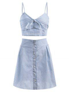 Bralette Stripes Top And Button Up Skirt Set - Cornflower Blue M
