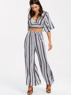 Striped Palazzo Pants Two Piece Set - Multi L