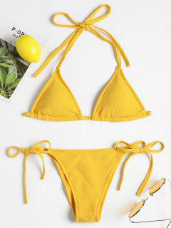 Textured String Bikini Set - Yellow L