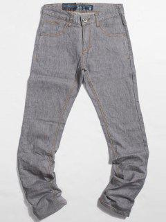 Light Wash Pocket Straight Jeans - Light Gray 38