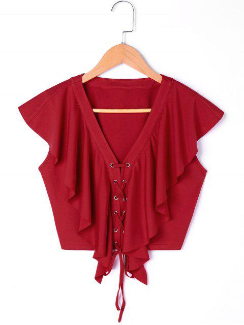 lady Lace Up Ruffle Crop Blouse - WINE RED XL Mobile