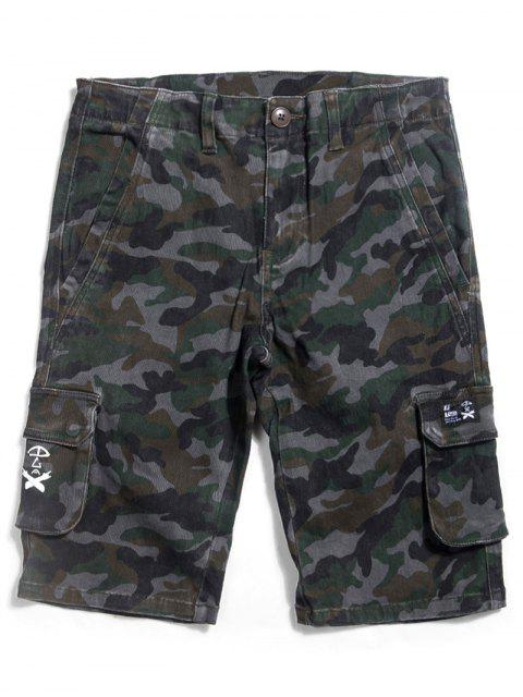 Camo Straight Zip Fly Shorts - Camouflage ACU 32 Mobile