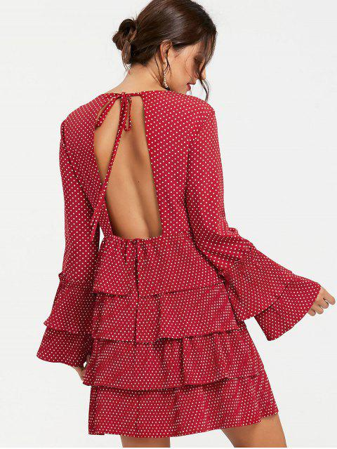 lady Tiered Ruffle Polka Dot Dress - WINE RED XL Mobile