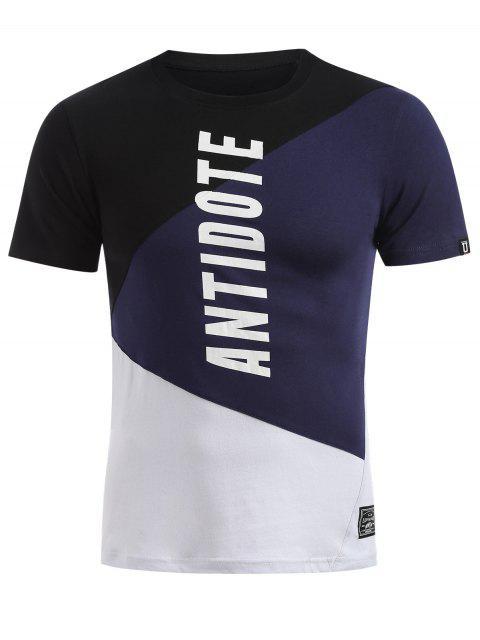 T-shirt Colorblock à manches courtes - Ardoise bleue foncée L Mobile