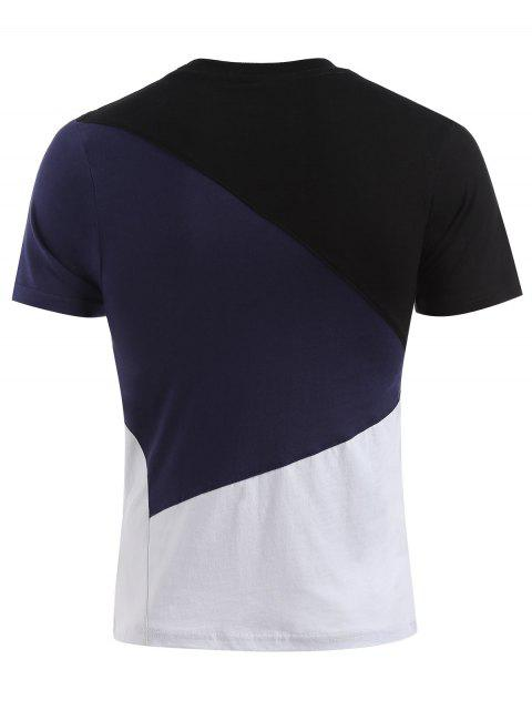 women Short Sleeves Colorblock Tee - DARK SLATE BLUE 2XL Mobile