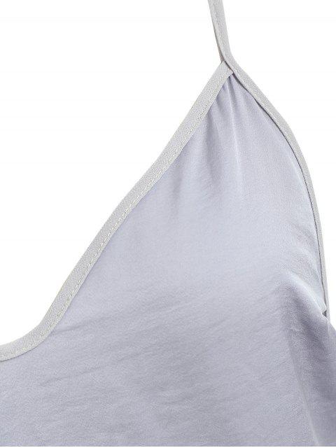 Vestido camisero corto con espalda descubierta - Jet Gris L Mobile