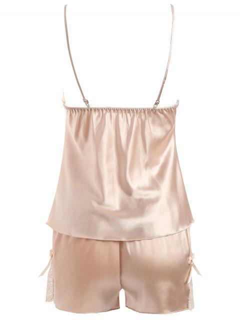 women's Lacy Panel Sleepwear Camisole Set - CHAMPAGNE XL Mobile
