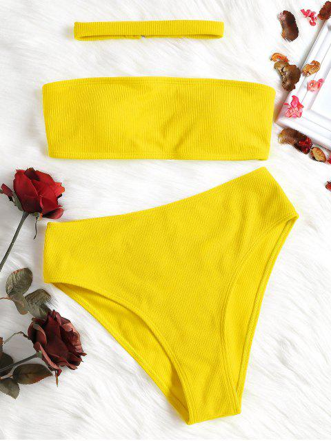 fancy Ribbed High Waisted Bikini Set with Choker - YELLOW M Mobile