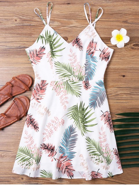 women Tropical Print Spaghetti Strap Dress - MULTI XL Mobile