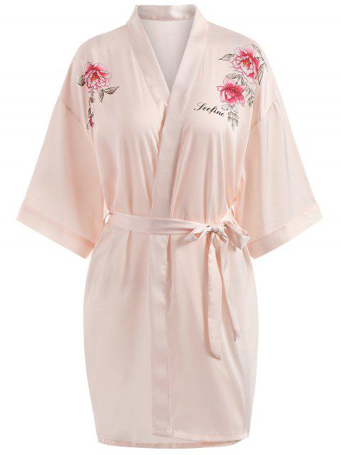 lady Floral Print Pajama Wrap Robe - LIGHT PINK XL Mobile