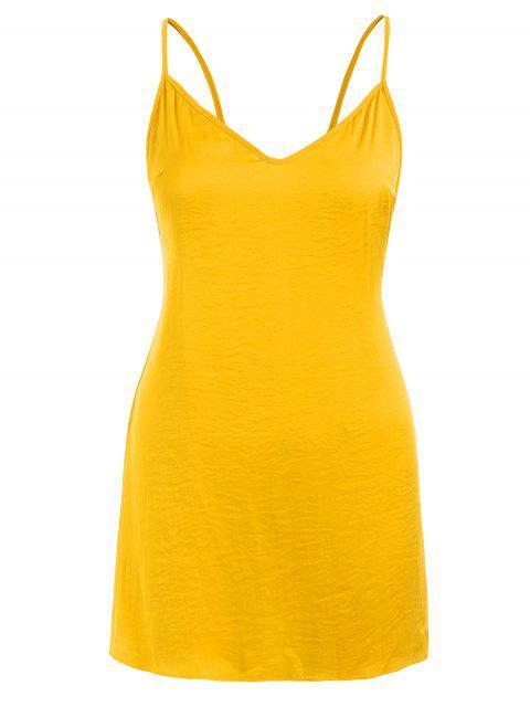 womens Open Back Sleep Short Cami Dress - BEE YELLOW S Mobile