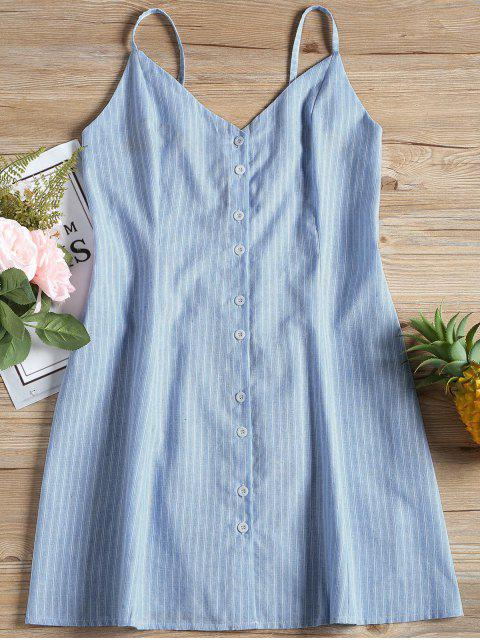 womens Cami Stripes Button Up Mini Dress - STRIPE L Mobile