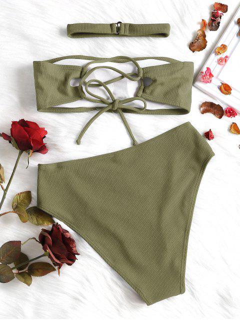 Geripptes hoch tailliertes Bikini Set mit Choker - Leguan Grün L Mobile