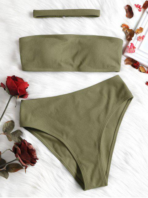 trendy Ribbed High Waisted Bikini Set with Choker - IGUANA GREEN M Mobile
