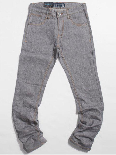 Leichte Wash Pocket Straight Jeans - Hellgrau 34 Mobile