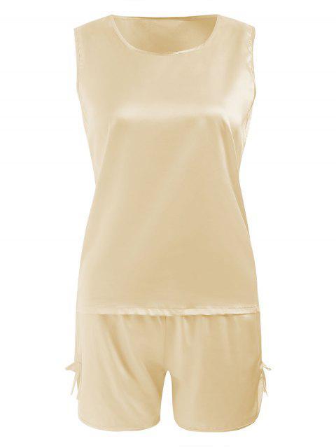 Conjunto de ropa de dormir cómoda de satén - Champán 2XL Mobile