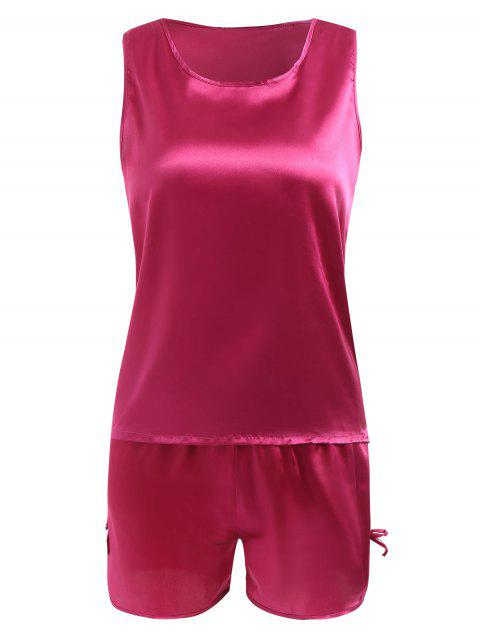 Conjunto de ropa de dormir cómoda de satén - Rosa Roja 2XL Mobile