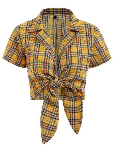 Tied Plaid Cropped Top - Bright Yellow M