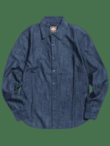 Denim Manga De Azul En 3xl Camisa Con Botones Larga waAAqTY