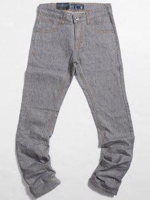 سروال جينز بضربات باهتة ذو قصة مستقيمة بجيوب - رمادي فاتح 32