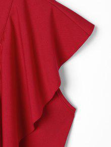 Rojo Blusa Volantes Con Vino Y L Cordones Corta UYwqFCYS