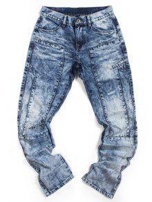 سروال جينز بسحاب بقصة مستقيمة ذو نمط ممزق  - أزرق 38