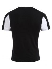 Con Negro Estampado Letras De Camiseta M x7UwvgPdq