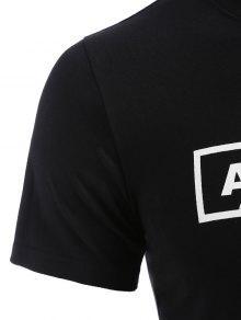 Xl De Negro Pi De Camiseta Estampado Redondo Con Cuello a wqUUS4xzE