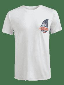 Corta Blanco Estampada Manga Camiseta De 2xl vPTgxt