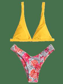 0c43716715 2019 Floral Leopard High Cut Bikini Set In YELLOW L