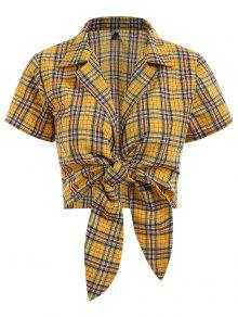 توب مقصر ربطة منقوشة - أصفر فاقع Xl