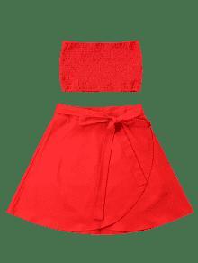 Shirred Bandeau Conjunto Skirt Rojo Piezas M Dos De qpqCr4gz7