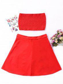 Dos Rojo De Bandeau Conjunto Skirt Piezas M Shirred aRq16W