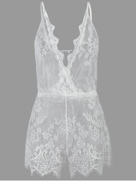 outfits See Through Plunge Lacy Bodysuit - WHITE ONE SIZE