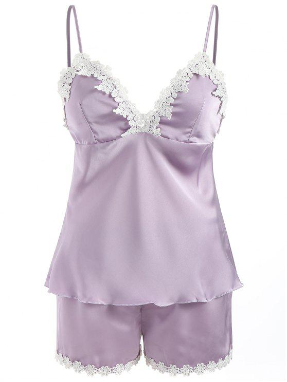 Ensemble Pyjama à Empiècement en Dentelle - Violet Buisson XL