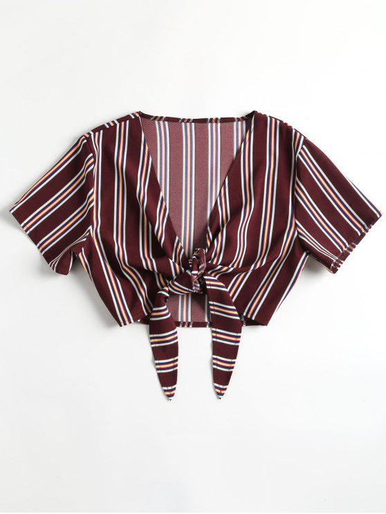 latest Cropped Tied Striped Top - DULL PURPLE L