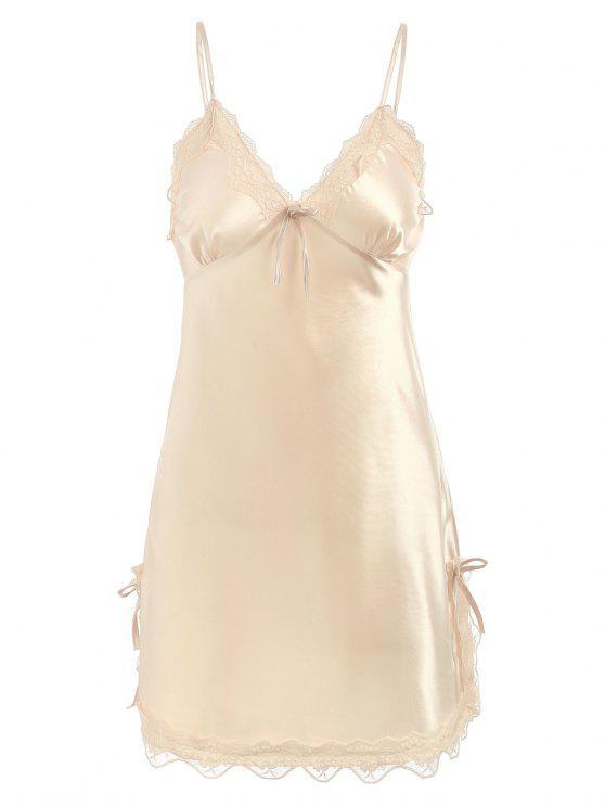 online Lace Panel Sleepwear Chemise - CHAMPAGNE M