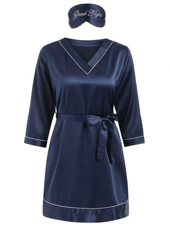 fancy Stain Sleep Dress - DENIM DARK BLUE XL